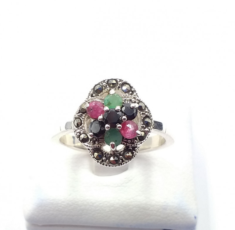 NATURAL RUBY SAPPHIRE EMERALD MIXED 925% SILVER RING E 37