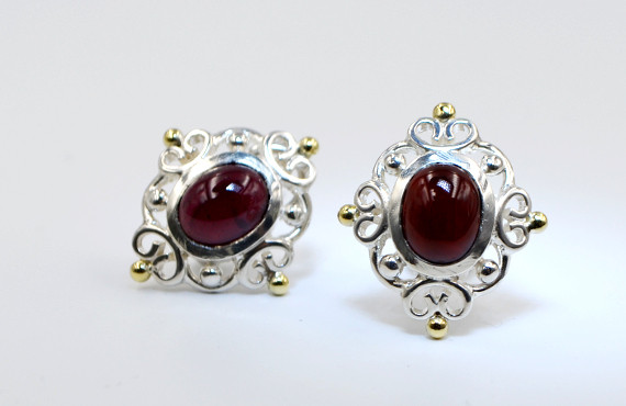 Garnet, Sterling Silver with 18k Accents