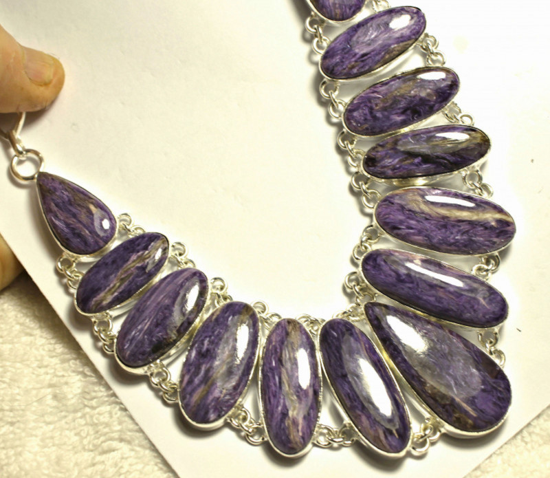 535.5 Tcw. Charoite Sterling Silver Necklace - Gorgeous