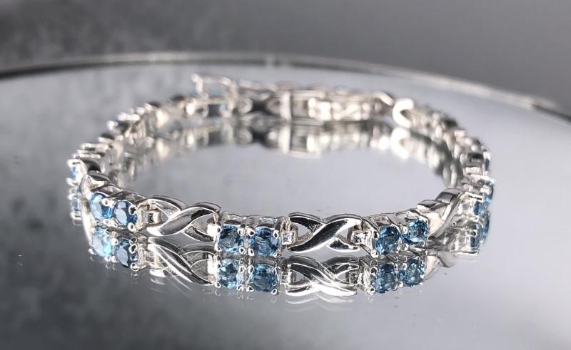 Blue Swiss Topaz 925 SilverBracelet by DANI Jewellery