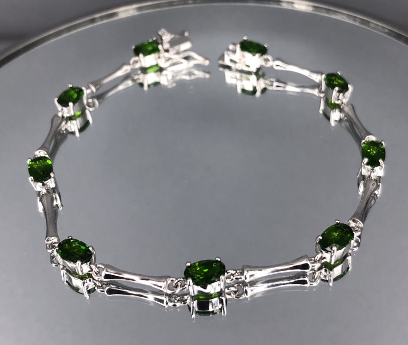 Natural Chrome Diopside 925 Silver Bracelet by DANI Jewellery