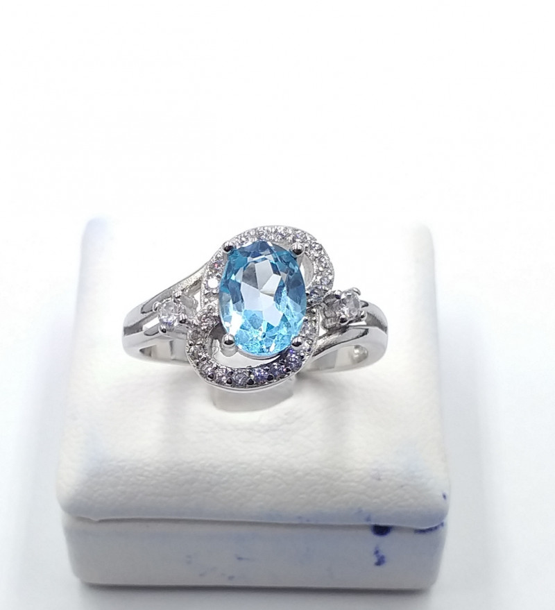 NATURAL BLUE TOPAZ WITH 925% SILVER RING F 22