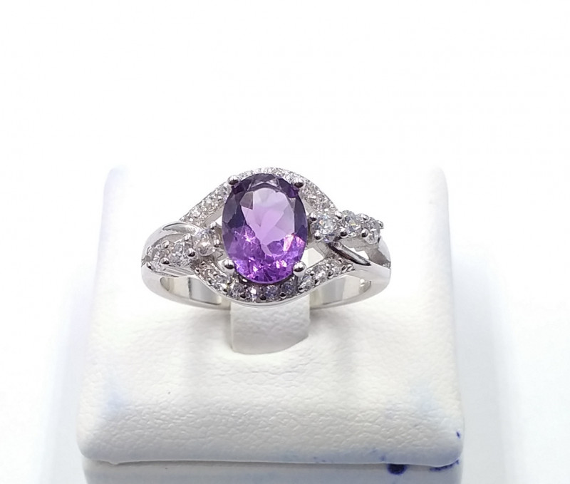NATURAL AMETHYST 925% SILVER RING F 26