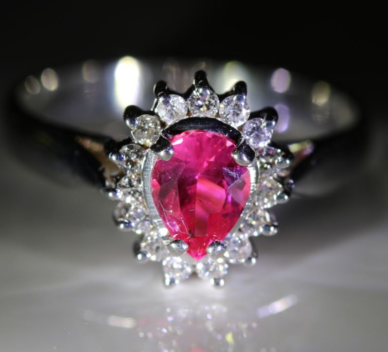 Mahenge Spinel 1.00ct Natural Diamonds Solid 18K White Gold Halo Ring