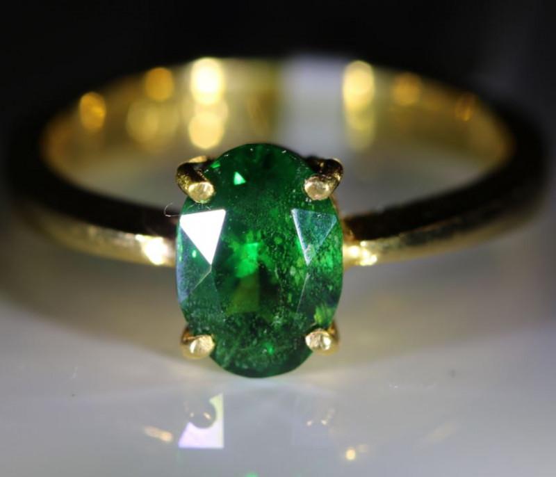 Tsavorite Garnet 1.81ct Solid 22K Yellow Gold Solitaire Ring