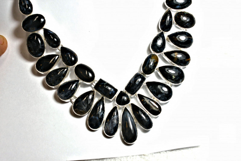 455.0 African Pietersite, Sterling Silver Necklace - Gorgeous