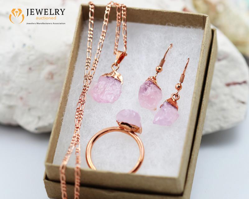 4 Piece Rose quartz  Jewelry set $99 for $10.00 Ring size 10