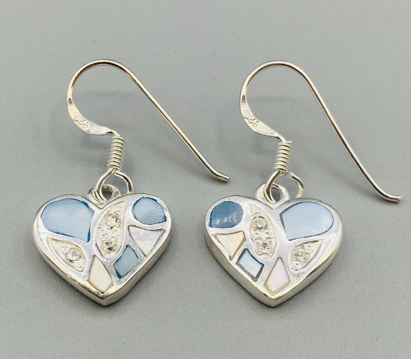 Natural Paua Shell  Earrings  With 925 Silver