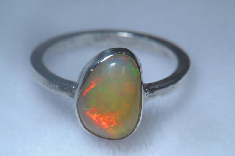 7sz .925 Sterling Ethiopian Welo Solid Opal Ring