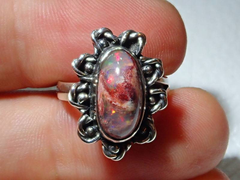 6.7sz Mexican Opal .925 Sterling Silver Ring