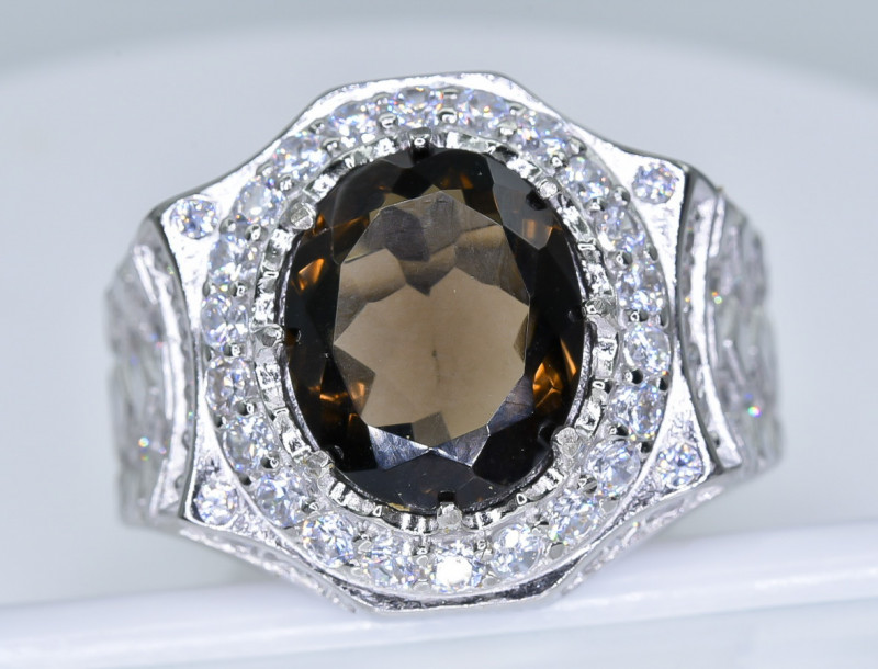 52.46 Crt Smoky  With Cubic Zircon 925 Silver Ring