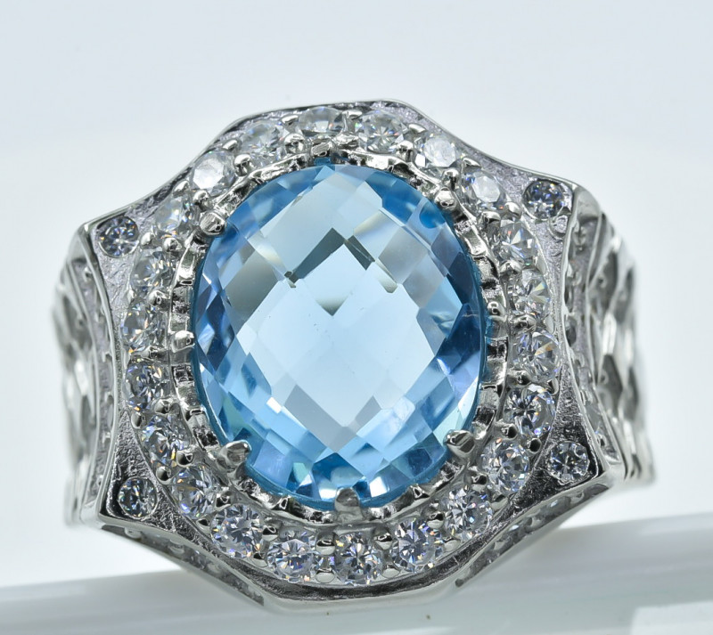 53.26 Crt  Topaz With Cubic Zircon 925 Silver Ring