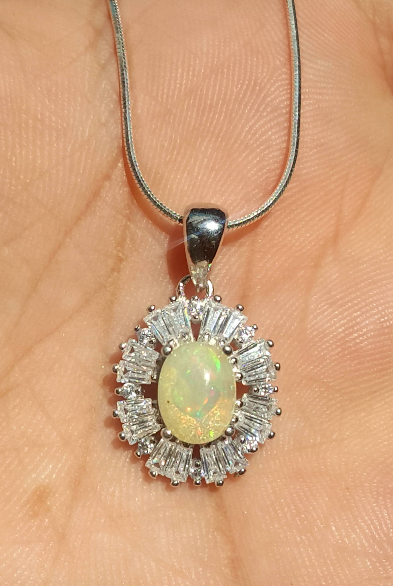 Natural Opal with CZ necklace.