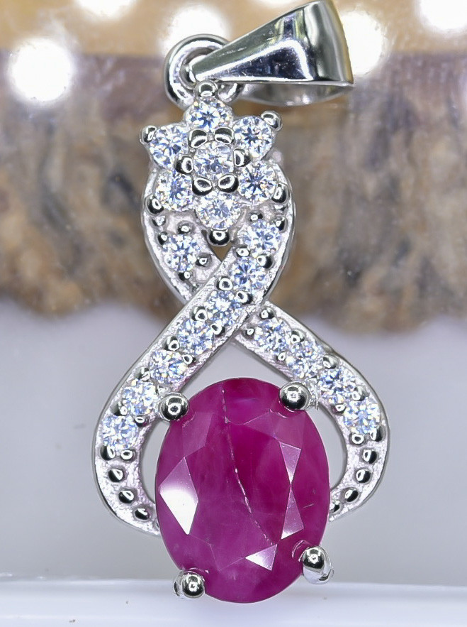 15.41 Crt Natural Ruby With Cubic Zirconia 925 Silver Pendant
