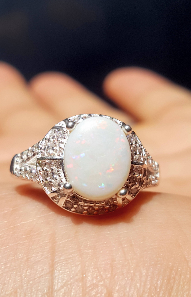 Natural Australian Opal with CZ.