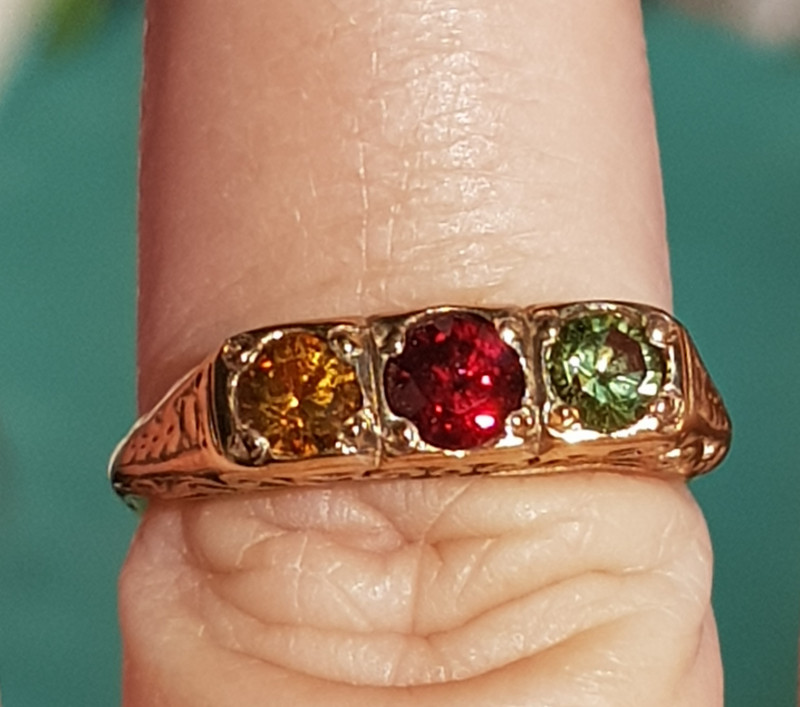 citrine,garnet & peridot 9ct YG ring