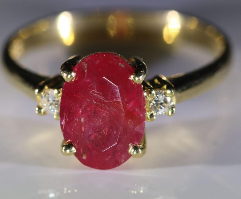 Longido Ruby 2.60ct Natural Diamonds Solid 18K Yellow Gold Multistone Ring