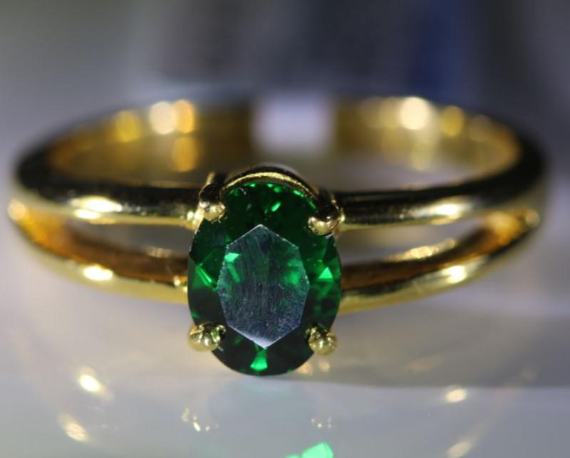 Tsavorite Garnet 1.21ct Solid 18K Yellow Gold Ring