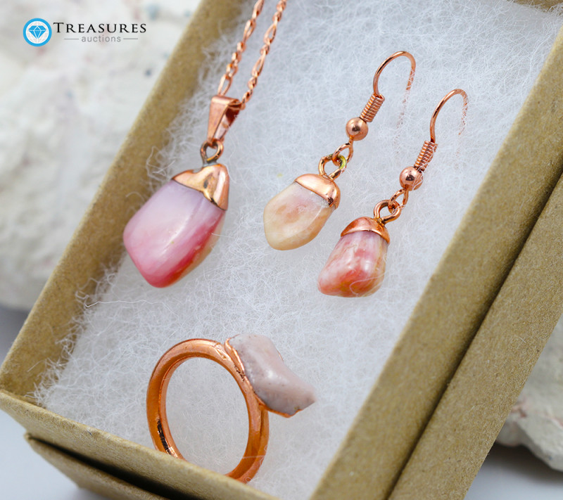 Rose Peru Opal Jewelry set $99 for $10.00 - Ring Size O -