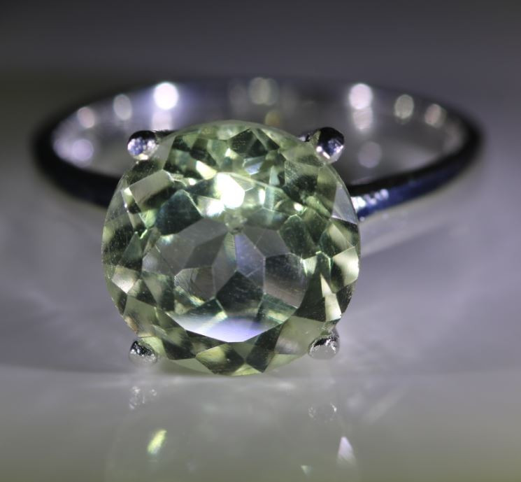 Prasiolite 4.24ct Platinum Finish Solid 925 Sterling Silver Ring