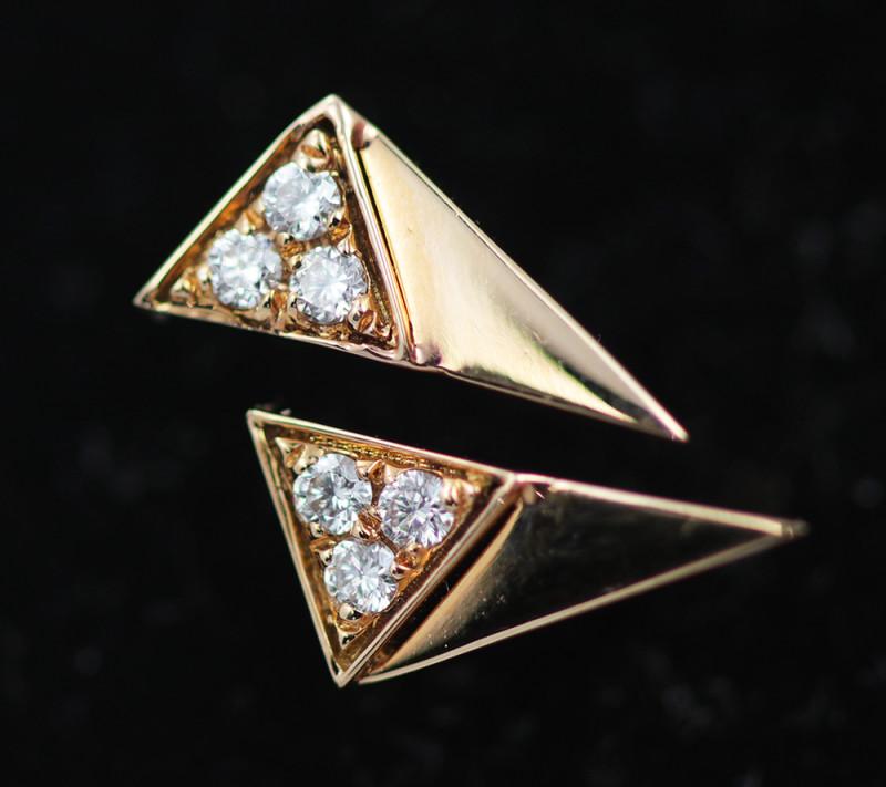18 K Yellow Gold Diamond earrings - H7 - E11623 -1