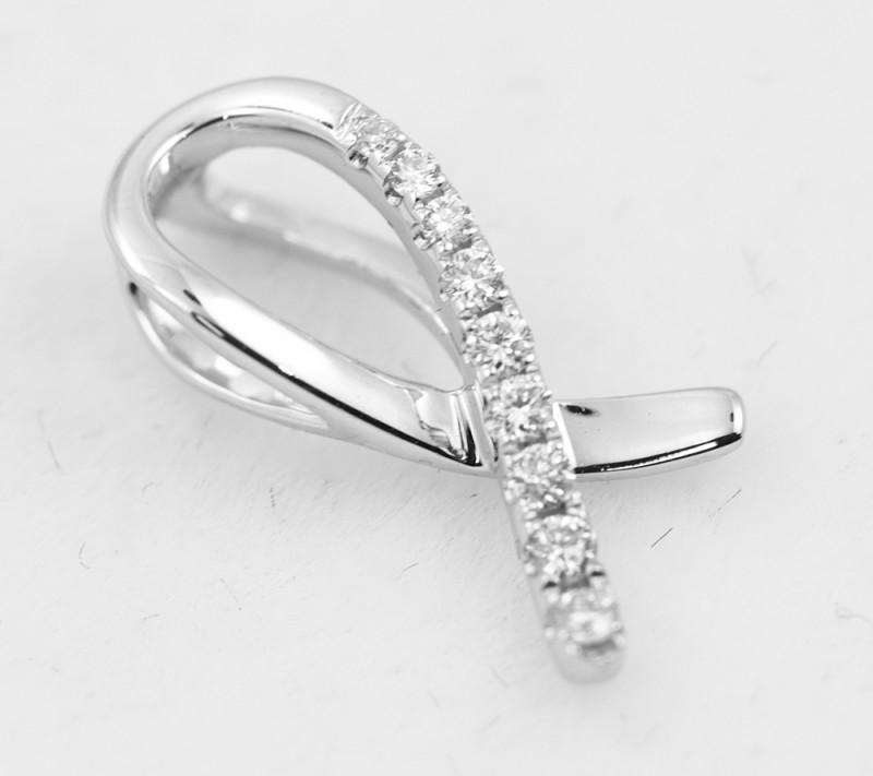18 K White Gold Diamond Pendant - H21 - P11266 -3
