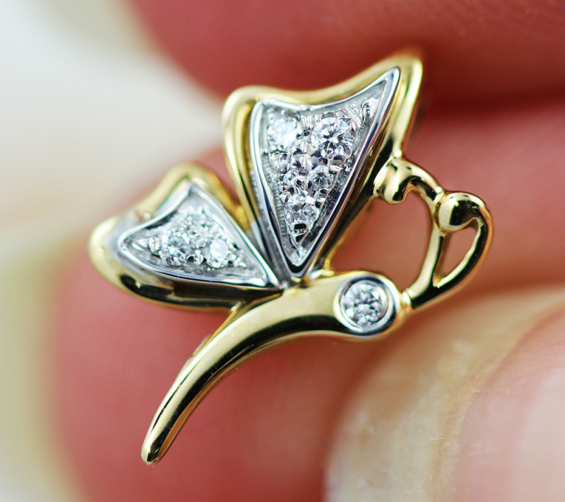18 K Yellow Gold Diamond Pendant - H44 - P11678 -1
