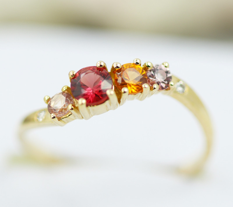 14k Gold Natural Color Sapphires & Diamond Ring Size 6.5 - R12319 - G111