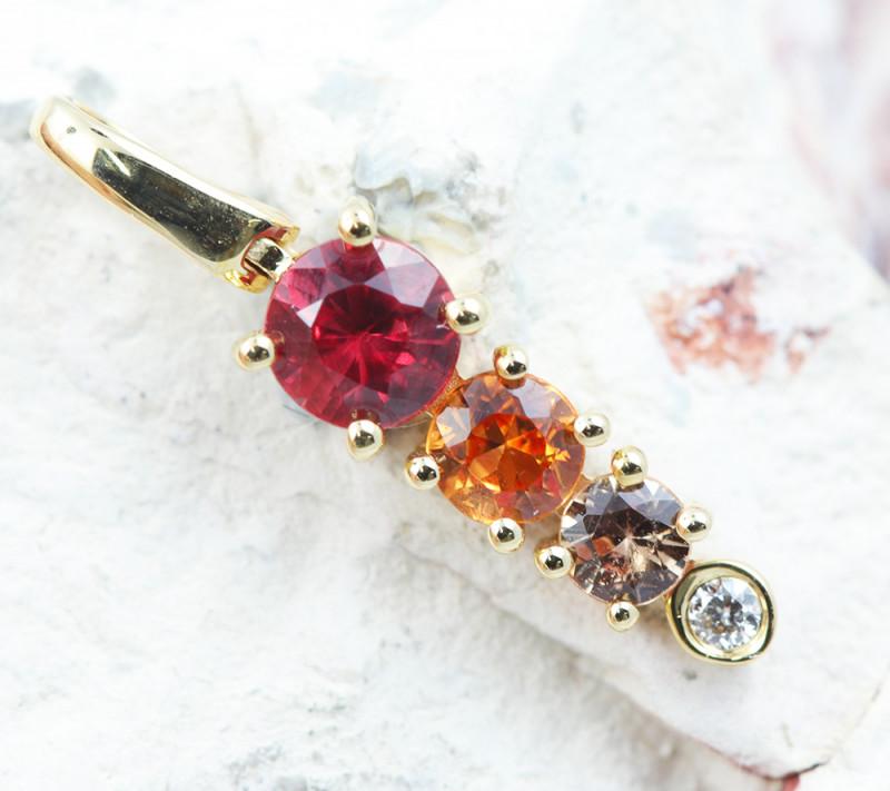 14k Gold Natural Color Sapphires & Diamond Pendant - P12319 - G113