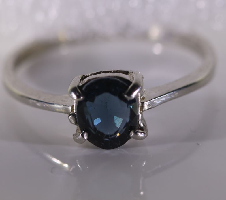 Blue Sapphire .70ct Platinum Finish Solid 925 Sterling Silver Ring
