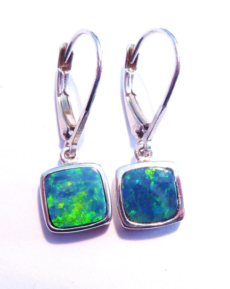 Beautiful Australian Opal and Sterling Silver Drop Earrings (z3310)