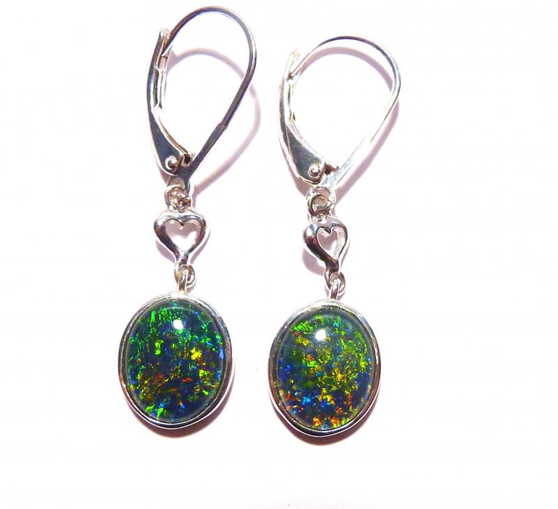 Vibrant Australian Gem Opal and Sterling Silver Drop Earrings (z3384)