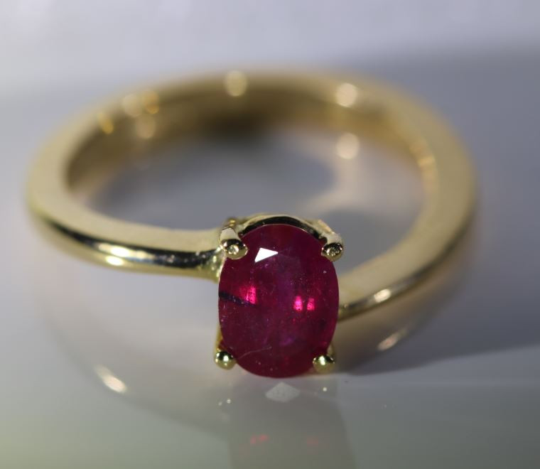 Burmese Ruby 1.02ct Solid 18K Yellow Gold Ring