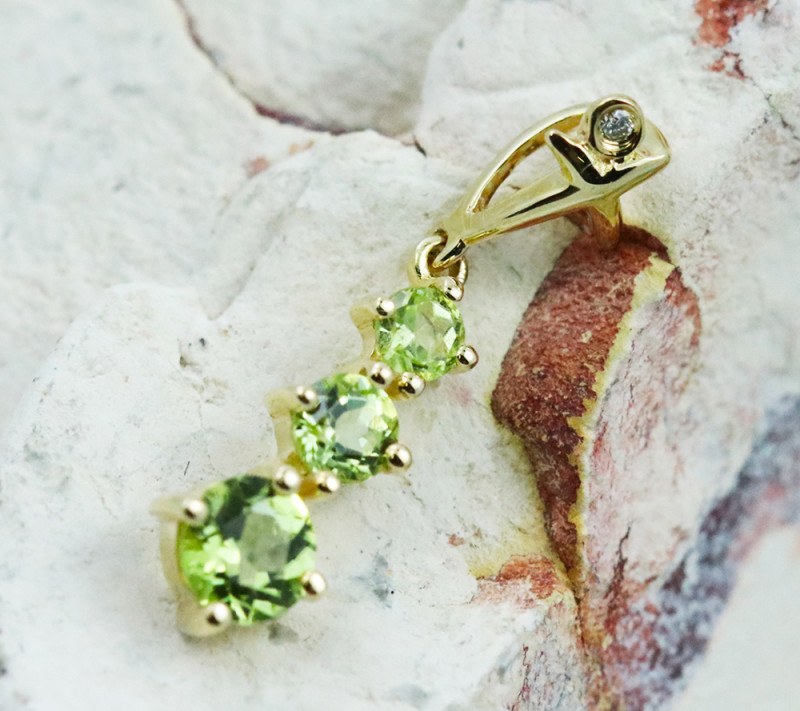 14k Yellow Gold Peridot & Diamond Pendant - P12339 - G95
