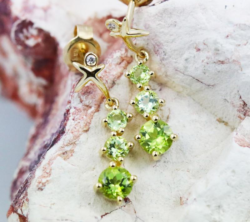 14k Yellow Gold Peridot & Diamond Earrings- E12339 - G97