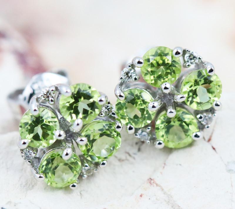 14k Gold Natural Peridot & Diamond Earrings - E12308 - G44