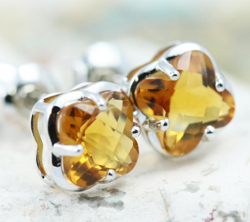 14 KW White Gold Citrine Earrings - E3991 - G15