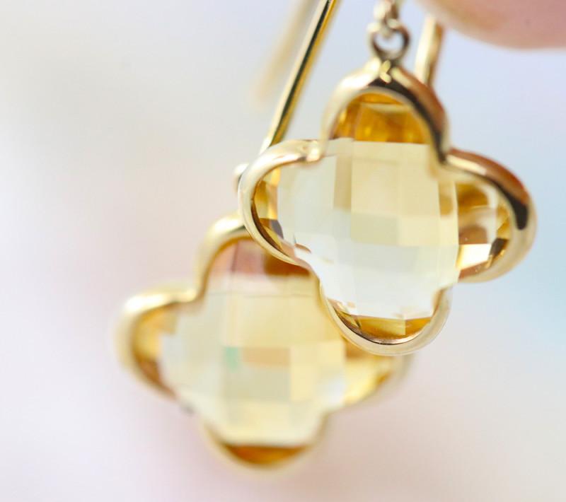 14k Gold Natural Citrine Earrings - E9372 - G22
