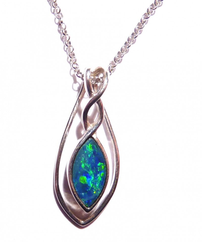 Beautiful Bright Australian Opal and Sterling Silver Pendant includes chain