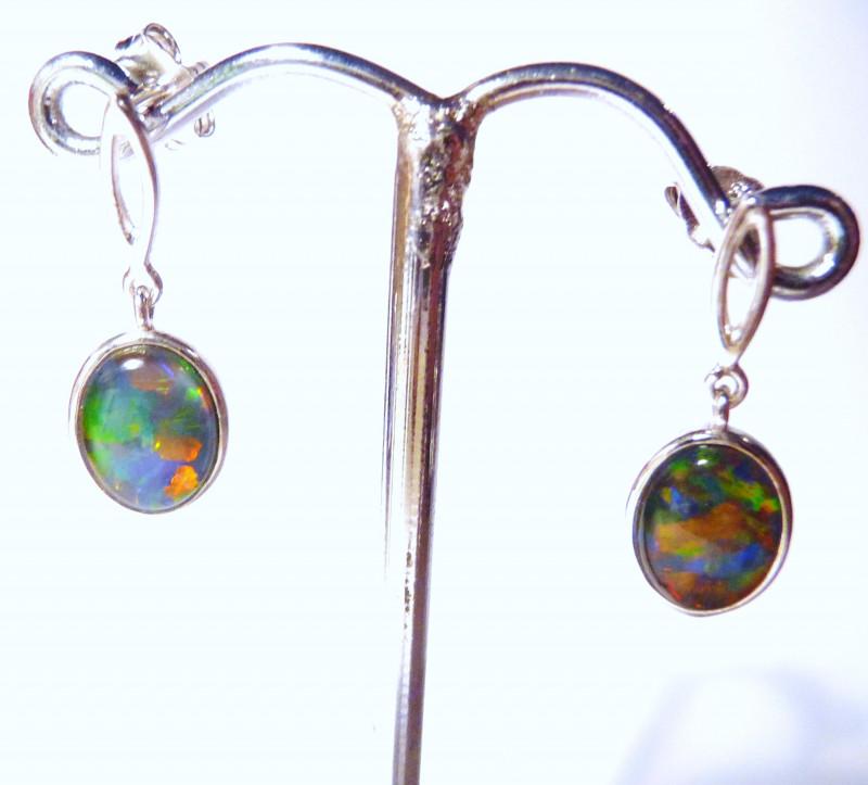 Pretty Australian Gem Opal and Sterling Silver Drop Earrings (z1076c)