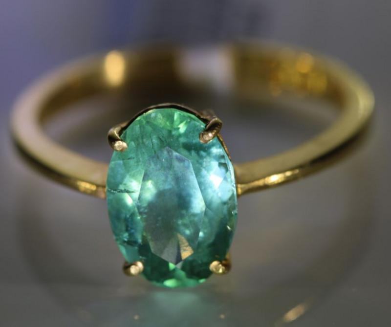 Emerald 2.23ct Solid 22K Yellow Gold Ring Tanzania