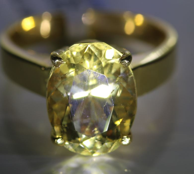 Scapolite 4.93ct Solid 18K Yellow Gold Ring