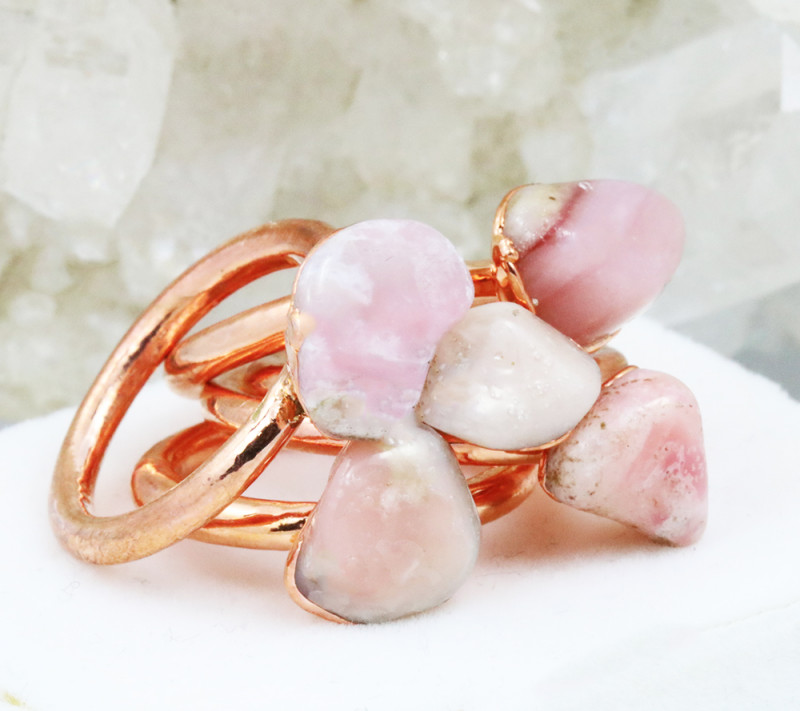 Five Peru Pink Opal Copper Electroformed Rings NA 280