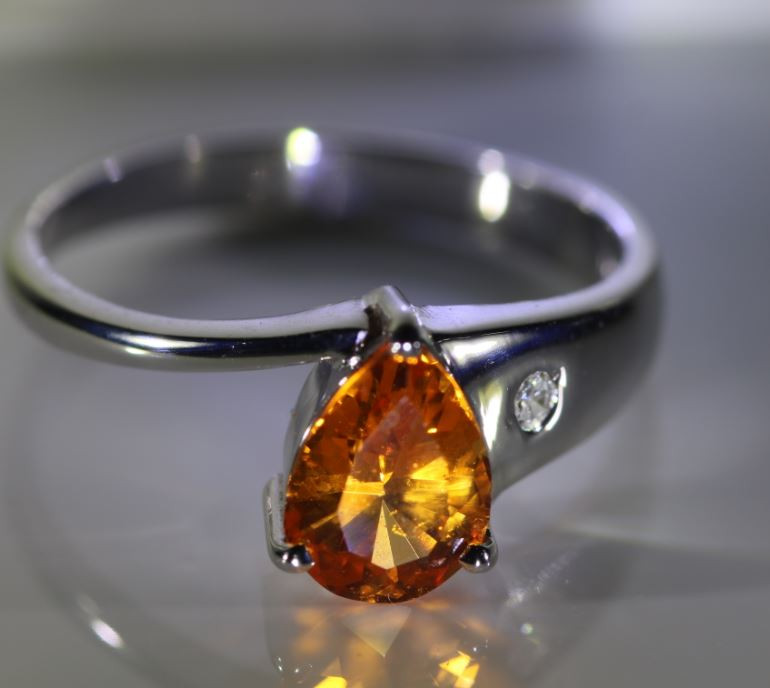 Mandarin Spessartine Garnet 1.50ct Diamond Solid 18K White Gold Ring