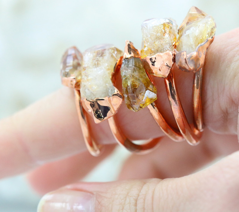Five Successful citrine Copper Electroformed Rings NA 286