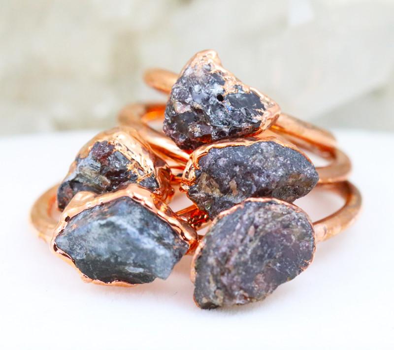 Five Abundance Garnet Copper Electroformed Rings NA 287