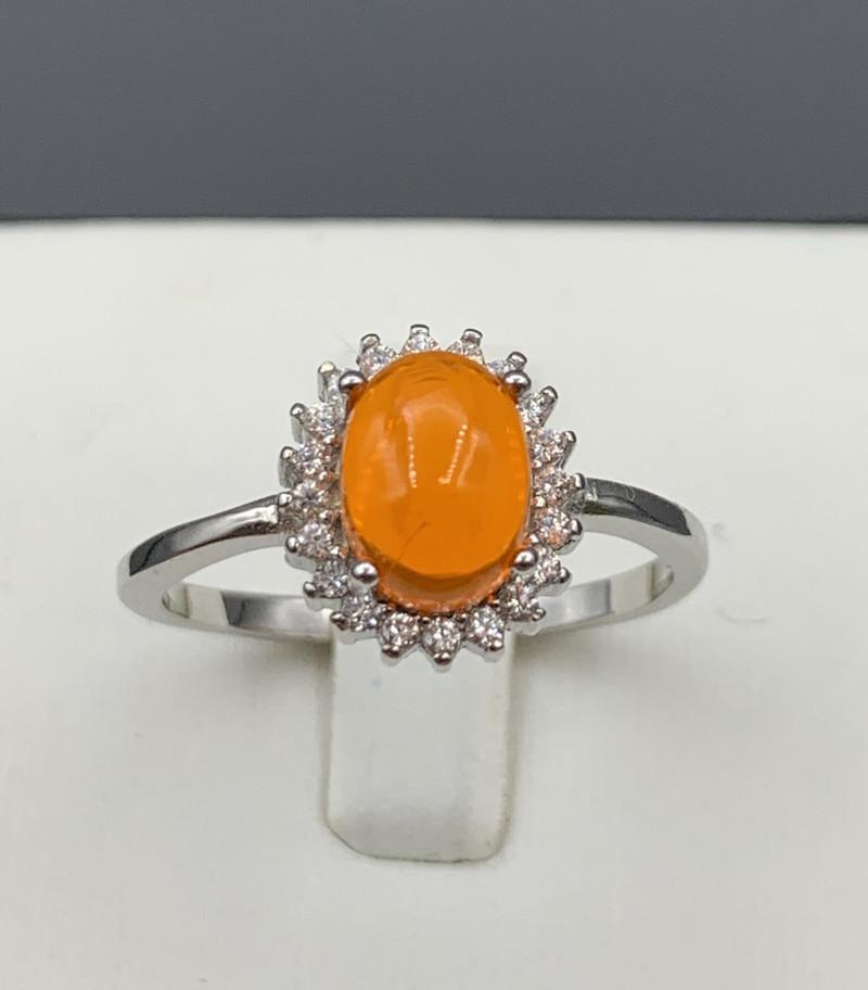 Natural Orange opal 925 Sterling white rhodium silver ring