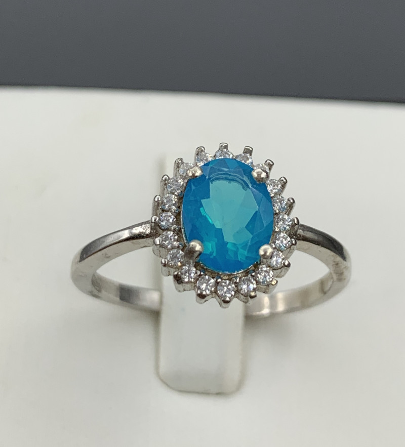 Natural Neon color opal  925 Sterling white rhodium silver ring