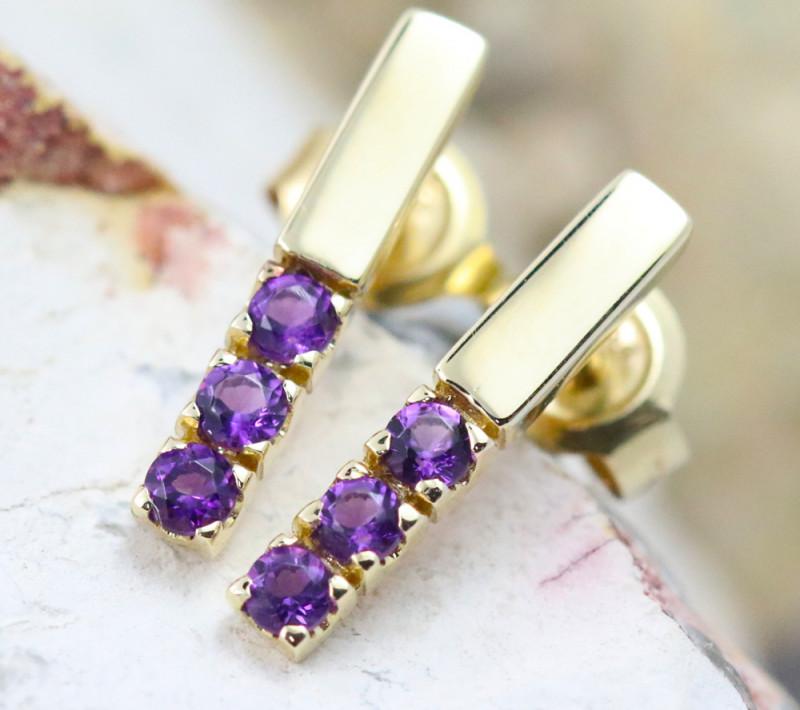 14k Yellow Gold Amethyst Earrings - E12205 - G64