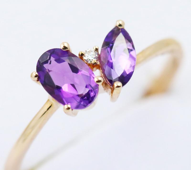 14k Rose Gold Amethyst & Diamond Ring Size 7 - R12307 - G69